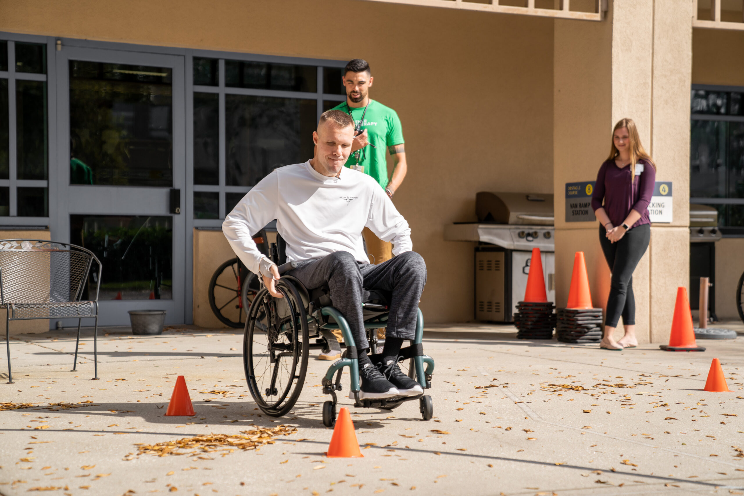 Chris Streiff in wheelchair at Brooks Rehabilitation Hospital