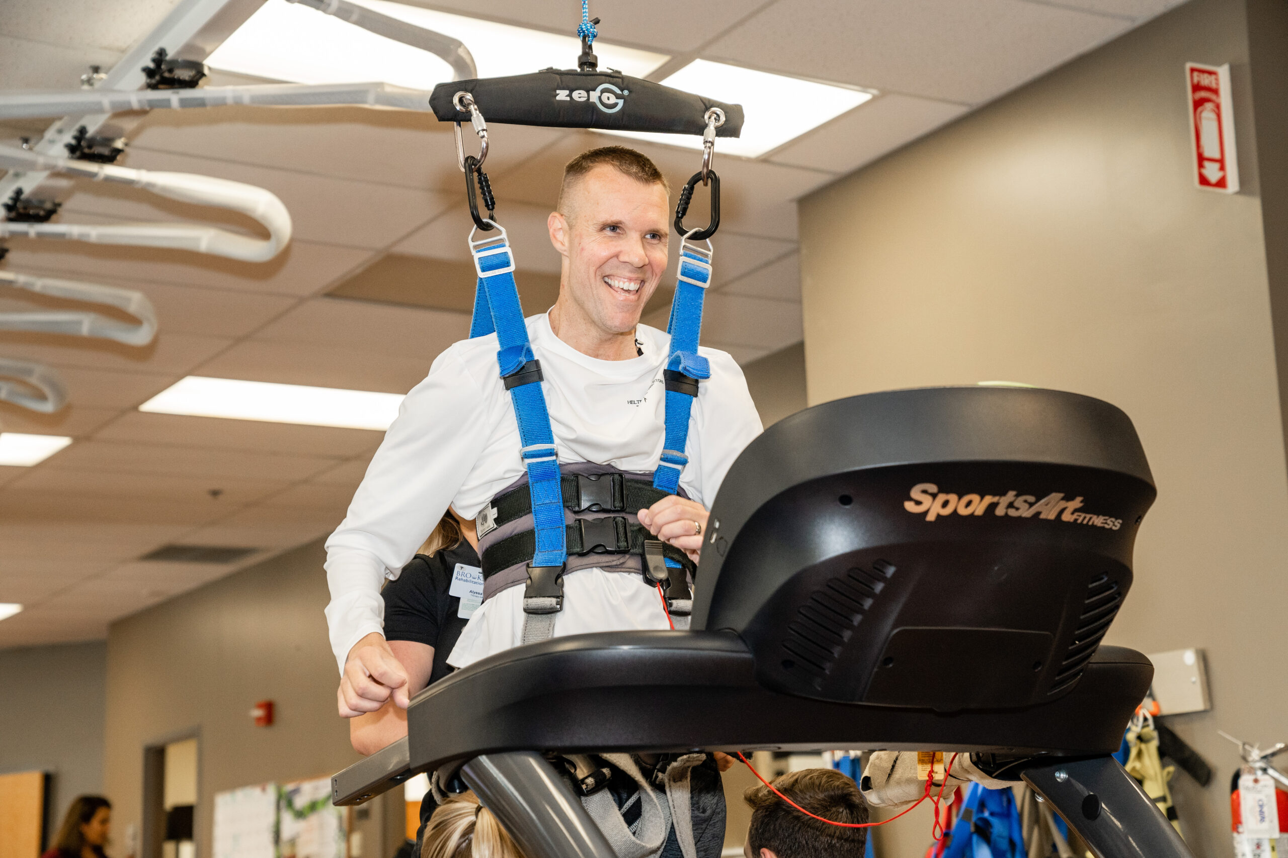 Chris Streiff in Zero-G machine at Brooks Rehabilitation Hospital